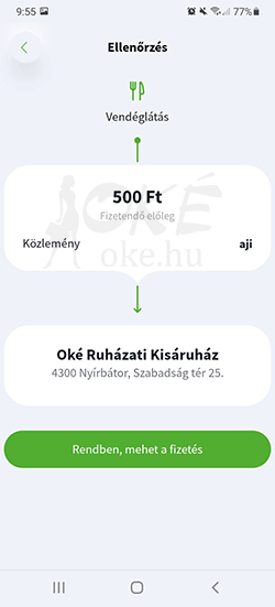OTP SZÉP kártya fizetés app-ból 5