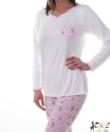 Mintás női pamut pizsama ekrü lámás