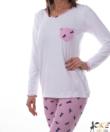 Mintás női pamut pizsama fehér unikornisos