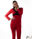 Női pizsama vékony pamut piros