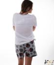 Minni női pamut rövidnadrágos pizsama fehér