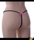 Spagetti pántos alul nyitott szexi bugyi fekete Flower