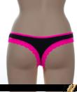 Barones fekete-pink női tanga elöl-hátul csipkés