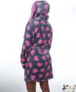 Szürke pink szivecskés pihe puha wellsoft női köntös