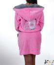 Pinki rózsaszín-szürke coffee pihe puha wellsoft női köntös