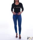 Kék magas derekú női farmer nadrág