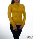 Mustársárga csavart garbó nyakú női felső