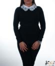Fekete hímzett csipkés ingnyakú női pulóver