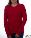 Piros zsenilia hatású fonott mintás női pulcsi