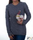 Szürke zsenilia hatású fonott mintás női pulcsi