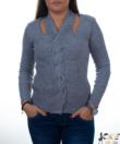 Szürke csavart nyakú női kötött pulóver