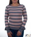 Szürke-púder csíkos fodros ujjú  női pulóver