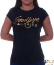 Feliratos fekete női póló