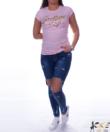 Feliratos rózsaszín női póló