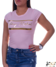 Rózsaszín női póló arany felirattal