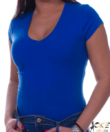 V nyakú kék női felső