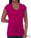 V nyakú magenta színű női felső