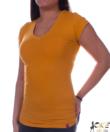 V nyakú mustár női felső