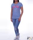 Világoskék strasszos flamingós női felső