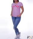 Púder strasszos flamingós női felső
