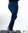 Kék derekánál fűzővel díszített női farmer nadrág