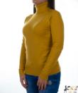 Mustársárga garbós finomkötött női pulóver