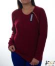 Bordó nyaknál cipzáras női kötött pulóver