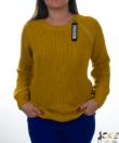 Mustár nyaknál cipzáras női kötött pulóver