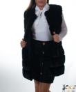 Fekete vastag műszőrmés női mellény