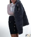 Szürke vastag műszőrmés női mellény