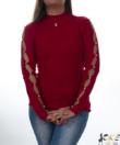 Piros bordázott,gyöngyös női kötött pulcsi