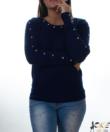 Sötétkék köves kötött női pulóver