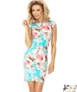 Rózsaszín virágos női elegáns ruha