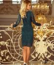 Smaragd zöld elegáns csipke női  ruha