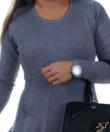 Szürke bordás,női kötött ruha