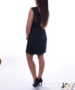 Csipkeszegélyes fekete műbőr női miniszoknya