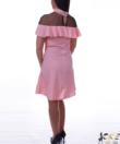 Fodros vállú púder női ruha