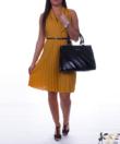 Mustár átlapolt női ruha