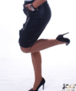 Fekete műbőr női szoknya