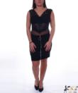 Fekete cipzáras velúr női miniszoknya