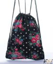 Miss Lulu fekete virágos tornazsák, hátizsák