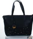 Fekete divatos női táska virág díszekkel