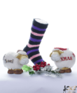 Lila-szürke-rózsaszín csíkos pihe-puha női zokni