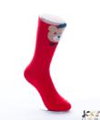 Piros macikás női pamut zokni