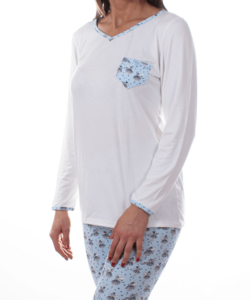Mintás női pamut pizsama ekrü balerinás