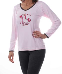 Mintás női pamut pizsama rózsaszín unikornisos