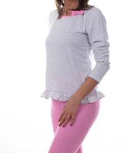 Rózsaszín pöttyös női pamut pizsama