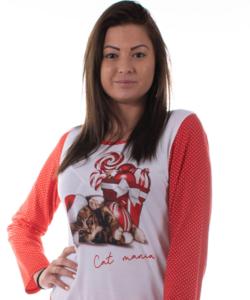 Mania női pamut pizsama karácsonyi cicás