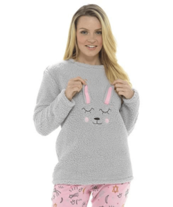 Női extra vastag pizsama nyuszika mintás