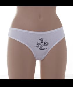 Lemila fehér női brazil bugyi cicás